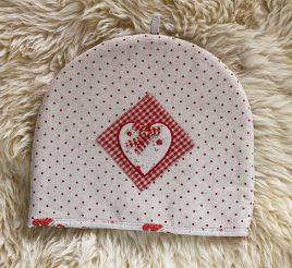 Накидка для чайника красная-Сердечко