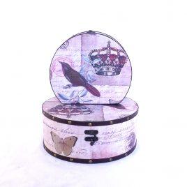 Шкатулка круглая набор из 2-х – Корона SH31297-073