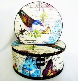 Шкатулка круглая набор из 2-х – Птица Гранд Презент SH31297-079