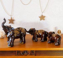Семья слонов трех с золотом 25*11*65 H2733-18T