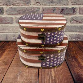 Шкатулка овальная набор набор из 2-х флаг США