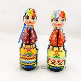 Украинская кукла пирамидка ср. – Козак и Козачка 15см (дерево)