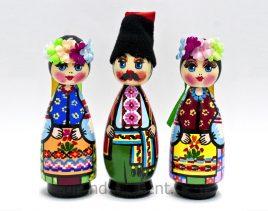 Украинская кукла пирамидка малая – Казак и Казачка 11см (дерево)