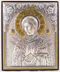 Икона Семистрельная на деревянной основе 1048