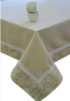 """Скатерть  """"white Rose"""" с кружевом 120х140 см"""