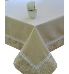 """Скатерть  """"white Rose"""" с кружевом 180х140 см"""