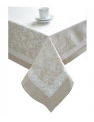 Скатерть «white Rose» с кантом и кружевом 180х140 см