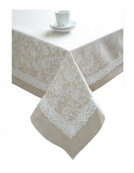"Скатерть ""white Rose"" с кантом и кружевом 180х140 см"