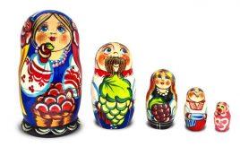 Матрёшка – Украинская семья  из пяти 12см (дерево)