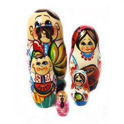 Матрёшка Украинская семья из пяти 10см (дерево)