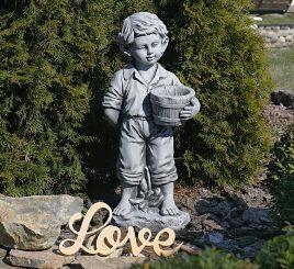 Садовая  скульптура Мальчик с цветочным горшком 30.5×24.5×65.5cm