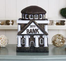 Копилка Банк семьи- бордовый гипс