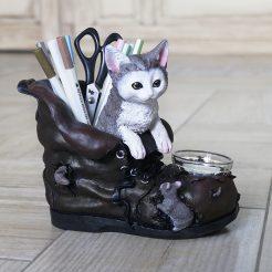 Подсвечник и карандашница кот в ботинке ПП701 цв