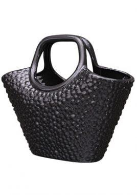 Ваза декор сумка чёрная керамика 31*14*25 0606