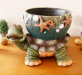 Черепаха кашпо цветная гипс СГ050 цв