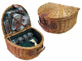 Корзина для пикника с наполнением из нержавеющей стали и ковриком (147 * 120см) на 4 персоны, лоза