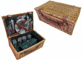 Корзина для пикника с наполнением из нержавеющей стали и ковриком (147 * 120см) на 4 персоны, лоза TW- 90240REV