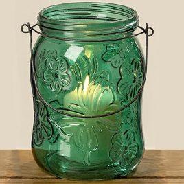 Подсвечник Балкон зеленое лакированное стекло h16см 1001997