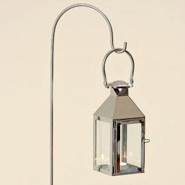 Подсвечник фонарь Jason серебряная нержавеющая сталь h115см