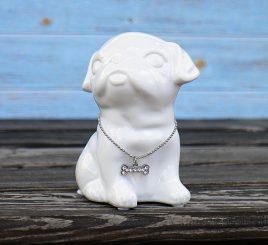 Копилка собачка Doglady белая керамика h13см