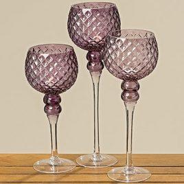 Подсвечник Малона фиолетовое стекло h40см