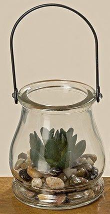 Суккулент искусственный прозрачном стекле h10см 1003660