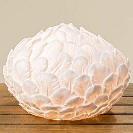 Лампа Перо белая полистоун d28см 1003894