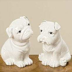 Статуэтка собака Йорис белая керамика h12см