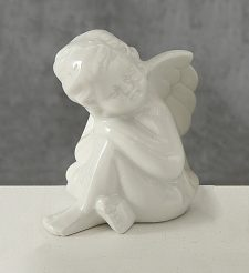 Статуэтка ангел белая керамика h11cm