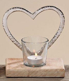 Подсвечник 2х Сердце стекло на деревянной подставке h15см