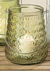Подсвечник Джесси зеленое лакированное стекло h20см d17см