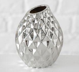 Ваза Celly керамика серебристая h13см 4267200-1 ромбик