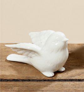Статуэтка птица Ники белая керамика h5cm