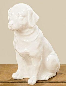 Статуэтка собака Петрос белая керамика h15см