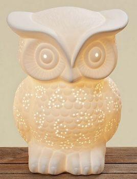 Лампа Сова белая керамика h25см 8604500