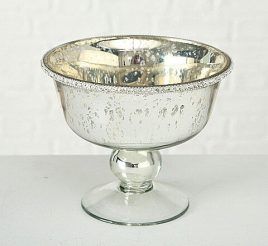 Декоративная миска Дион лакированное серебряное стекло d15 h12cm