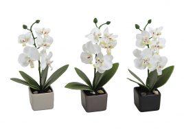 Орхидея искусственная в керамической чаше 18см