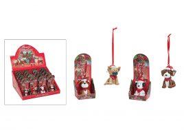 Рождественская подвеска собачка керамика 6см