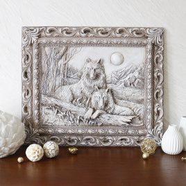 Барельеф Пара волков светящийся в темноте КР 903 камень светит