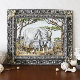 Панно картина объемная Семья слонов КР 906 цветная