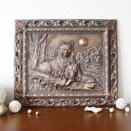 Картина рельефная Пара волков КР 903 Медь