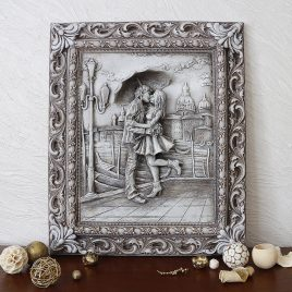 Барельеф Пара под зонтом светящийся КР 910 камень светит