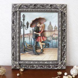 Картина рельефная Пара под зонтом КР 910 цветная
