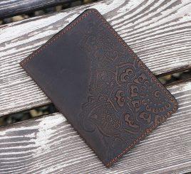 Обложка для паспорта Цветок коричневый 9.5*13.5см 01-11К