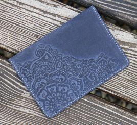 Обложка для паспорта Цветок синий 9.5*13.5см