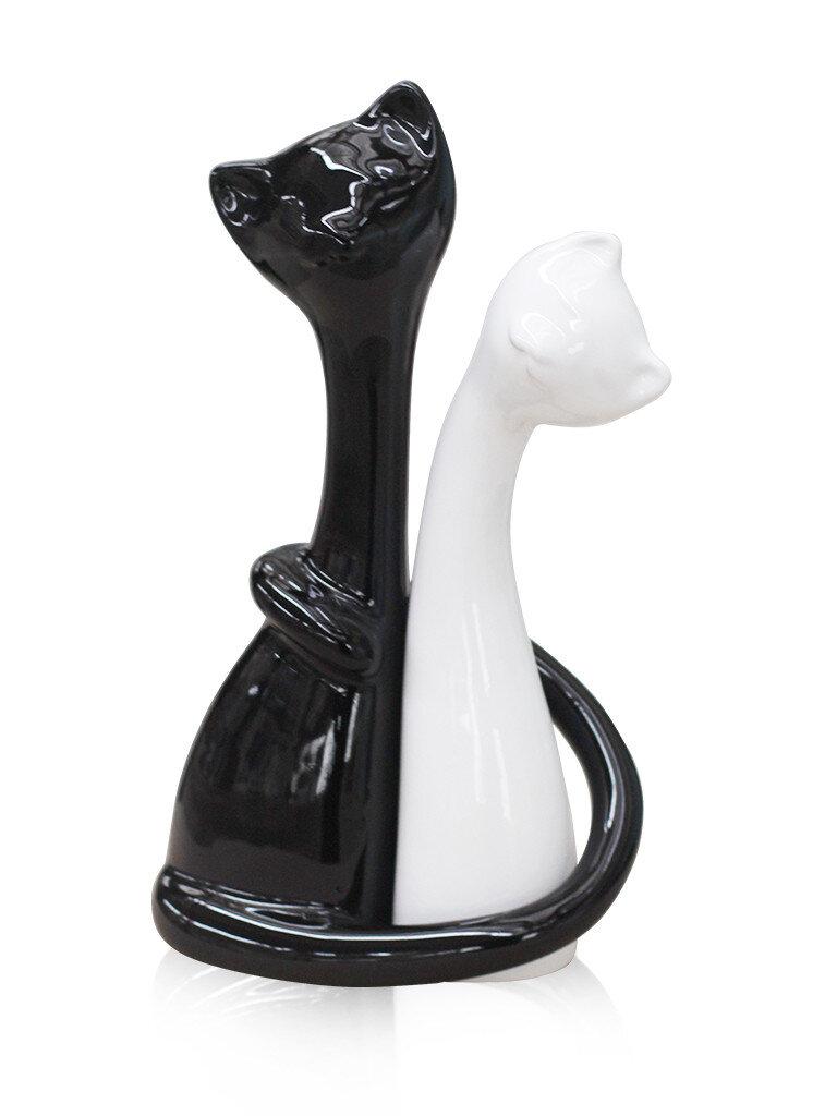 Набор 2х котов черный с белым керамика 2001