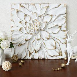 Панно объемный Цветок Пион белый с золотом КPД 914 Белый золото