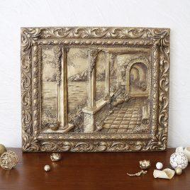 Картина объёмная Итальянский дворик в бронзе КР 908 бронза