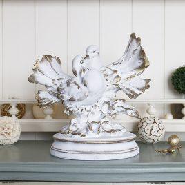 Фигура пара голубей 20 см СП303-2 золото