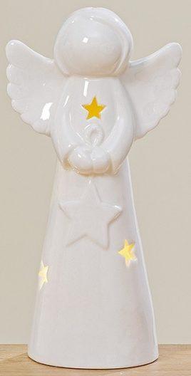 Светодиодный Ангел белая керамика h18см 1009855
